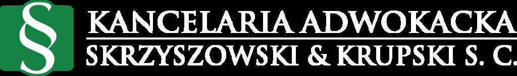 Logo biały napis Kancelaria adwokacka Marek Skrzyszowski & Łukasz Krupski S. C.